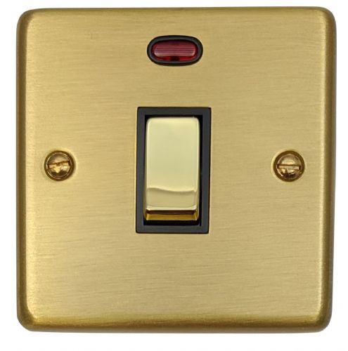 G&H CSB326 Standard Plate Satin Brushed Brass 1 Gang 20 Amp Double Pole Switch & Neon